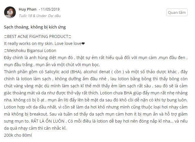 [Review] Lotion Trị Mụn Meishoku Bigansui Medicated Skin