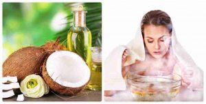 Xông mặt với dầu dừa giúp trị mụn