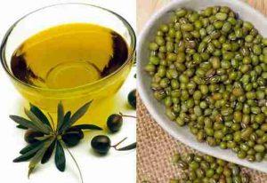 Vitamin E, dầu oliu, bột đậu xanh đắp mặt phục hồi da cháy nắng